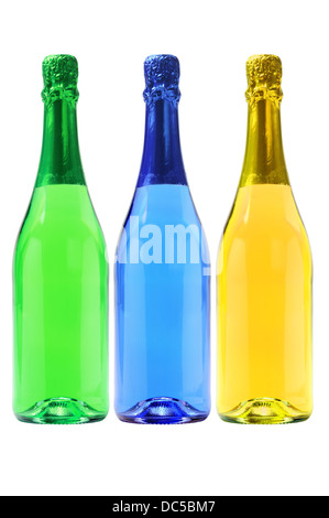 Three Bottles Of Colorful Carbonated Drinks On White Background - Stock Photo