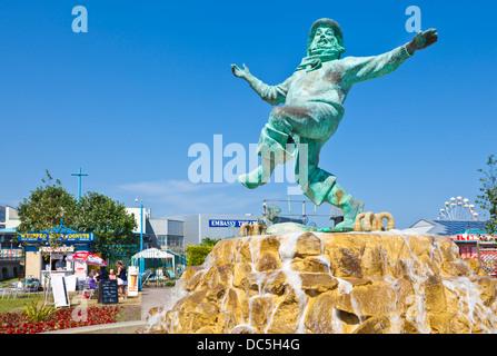 Jolly fisherman statue Skegness Tower Gardens Lincolnshire england UK GB EU Europe - Stock Photo