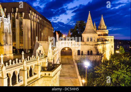 Fishermen Bastion with conical towers, built in Neo-Romanesque, at twilight hour, Budapest, Hungary. - Stock Photo