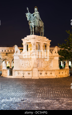 Statue of St Istvan in front of the Fishermen's Bastion, Budapest, Hungary - Stock Photo
