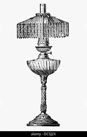 oil lamp drawing. oil lamp. antique drawing, ca. 1900. - stock photo lamp drawing