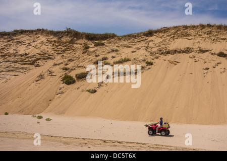CAPE COD, MASSACHUSETTS, USA - ATV and sand dunes at White Crest beach near town of Wellfleet. - Stock Photo
