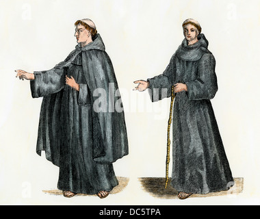 Franciscan monk, or Grey Friar, shown with and without his mantle (right). Hand-colored woodcut - Stock Photo