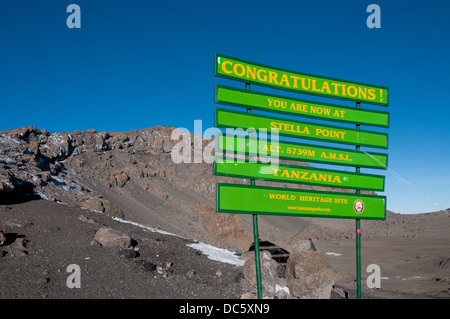 The sign at Stella Point on the rim of Kilimanjaro - Stock Photo