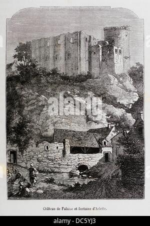 France-History- ´ Château de Falaise et fontaine d´Arlette ´- The Château de Falaise is a castle located in the - Stock Photo
