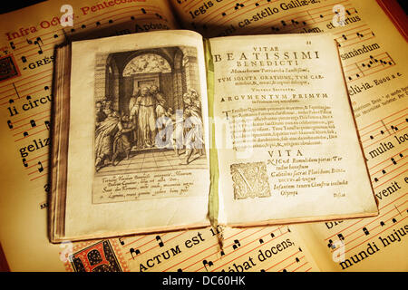 ´Vitae Beatissimi Benedicti´ preserved at the library of the Leyre monastery. Navarra, Spain - Stock Photo
