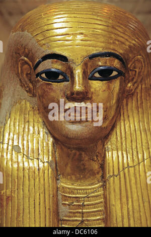 Egyptian Museum: Death mask from the tomb of Yuya and Thuya. El Cairo, Egypt. - Stock Photo