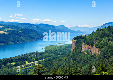 View over the Columbia River Gorge from the historic Columbia River highway looking towards Crown Point, Oregon, - Stock Photo