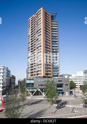 High rise residential apartment block Zalmhaven Rotterdam Netherlands - Stock Photo