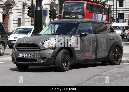 London, UK, 9th August 2013. An unusual Mini car being used for promotional purposes in Central London. - Stock Photo