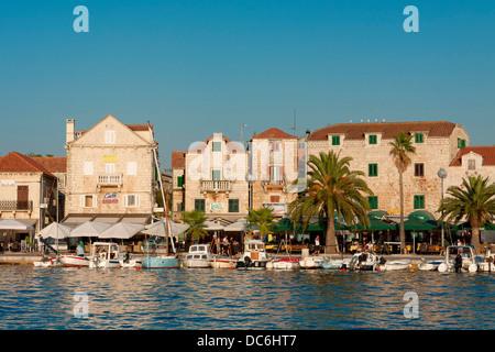 Port in Supetar on Brač island, Croatia - Stock Photo