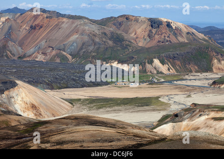 Landmannalaugar and the Laugahraun Lava Field Surrounded by the Colourful Rhyolite Mountains Fjallabak Area of Iceland - Stock Photo