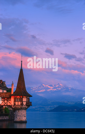 The castle at Oberhofen looking out over Lake Thun, Switzerland. - Stock Photo