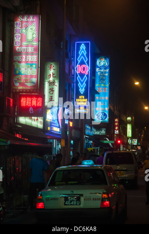 Night time in Geylang Road, Singapore - Stock Photo
