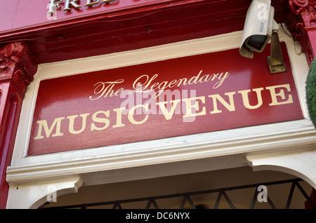 Music venue sign outside a London UK pub - Stock Photo