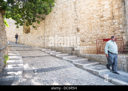 old town street of jerusalem in israel - Stock Photo