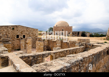 Complex of magazines and the Mosque of Sultan Ibrahim Han in the Venetian fortress of Rethymnon - Crete, Greece - Stock Photo