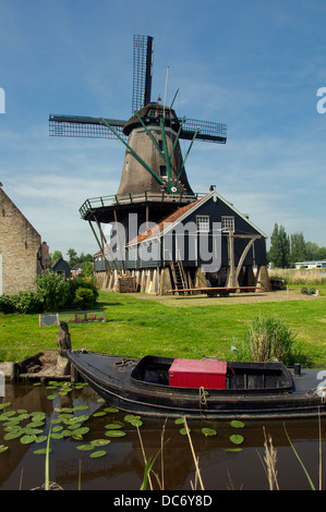 The Rat windmill at IJlst Friesland Holland Stock Photo