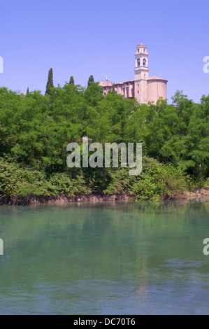 Church of St Michael high above the river Mincio at Monzambano, Lombardy, Italy, Europe - Stock Photo