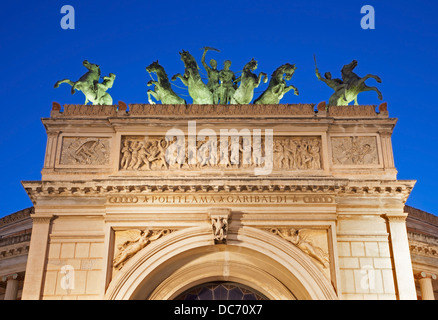 Palermo - Detail from facade of Teatro Politeama Garibaldi in dusk - Stock Photo