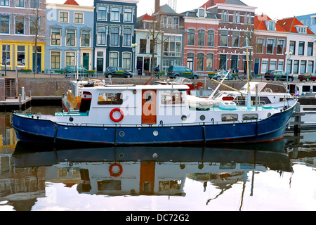 Pier and the ship in Gorinchem. Netherlands - Stock Photo