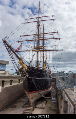 Captain Robert Falcon Scott's Antarctic exploration ship RRS Discovery on display in Dundee Scotland - Stock Photo
