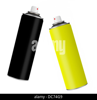 Two spray paint style cans. - Stock Photo