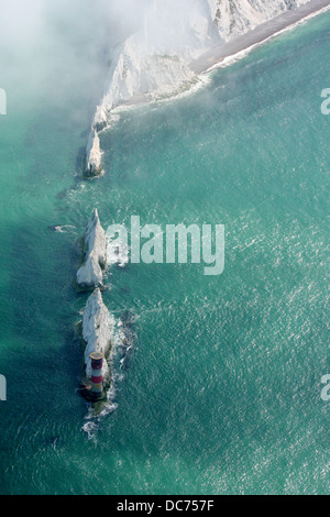 Aerial view of the Needles, Isle of Wight - Stock Photo
