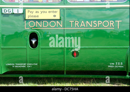 London Transport logo on a 1953 Guy Special Gs15. 26 seat Eastern Coachworks bodied single decker bus - Stock Photo