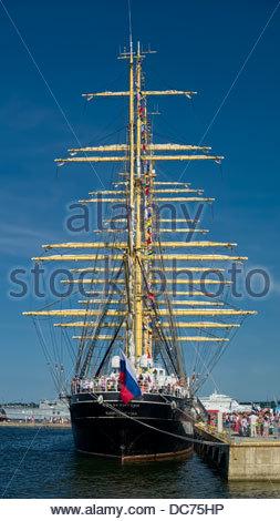 Famous russian sailing ship Kruzenshtern in Tallinn. Visitors - Stock Photo