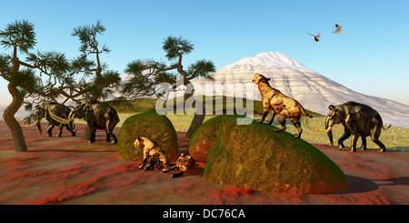A family of Saber Toothed Tigers watch as a herd of Woolly Mammoths pass by their den. - Stock Photo