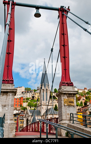 Spectacular views on St.George church l´Eglise St. Georgesfrom Suspension bridge, Lyon, France, Europe - Stock Photo