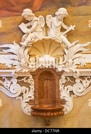 VIENNA - JULY 27: Fresco of angels from vestibule of monastery church in Klosterneuburg from 19. cent. on July 27, - Stock Photo