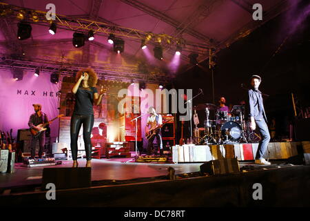 Worms, Germany. 10th August 2013. Singer Max Herre and his supporting band are pictured on stage.  The German singer - Stock Photo