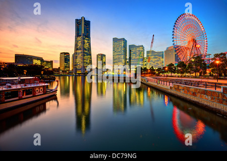 Yokohama, Japan skyline at Minato-mirai at sunset. - Stock Photo