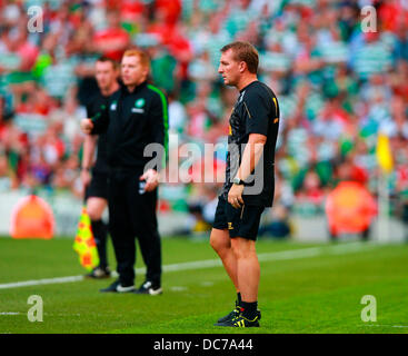 Dublin, Ireland. 10th Aug, 2013. Brendan Rodgers, Manager Liverpool looks on with Neil Lennon, Manager Celtic in - Stock Photo