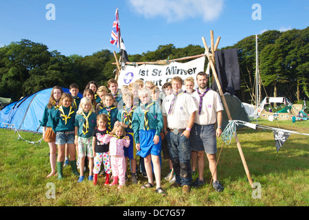 A group of St Minver scouts is having fun at the annual Cornwall Scout Jamboree at Pencarrow - Stock Photo