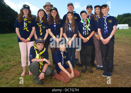 A group of sea scouts is having fun at the annual Cornwall Scout Jamboree at Pencarrow - Stock Photo
