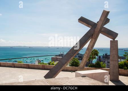 Fallen Cross (Cruz Caida) monument in Salvador de Bahia, Brazil - Stock Photo