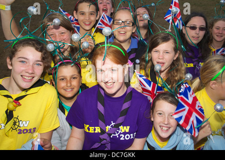 A group of scouts is having fun at the annual Cornwall Scout Jamboree at Pencarrow - Stock Photo