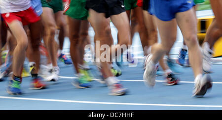 Moscow, Russia. 11th Aug, 2013. Athletes compete during the men's 20km Race Walk at the 14th IAAF World Championships - Stock Photo