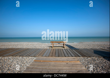 Cayeux-sur-Mer, Somme department, Picardy or Picardie, France. July 2013 Popular holiday destination on north coast - Stock Photo