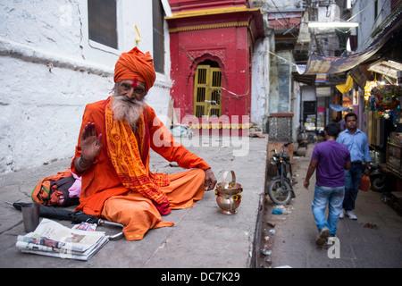 Sadhu, Holy Man off Kachaudi Gali, Varanasi, Uttar Pradesh, India - Stock Photo