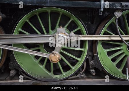 Driving wheels of steam locomotive - Stock Photo