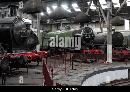 Preserved steam locomotives in the Barrow Hill Roundhouse, Derbyshire - Stock Photo