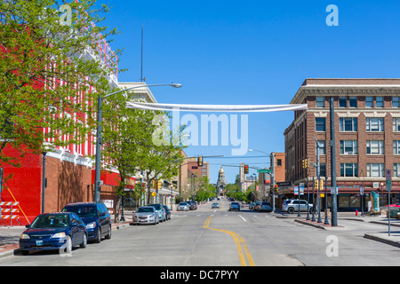 Capitol Avenue looking towards Wyoming State Capitol, Cheyenne, Wyoming, USA