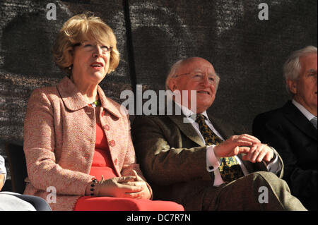 Derry / Londonderry, Northern Ireland, UK. 10th Aug, 2013. Irish President Michael D. Higgins (right) and his wife - Stock Photo
