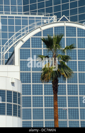Square reflective glass framed with white steel tubing marks the Los Angeles Convention Center's architecture in - Stock Photo