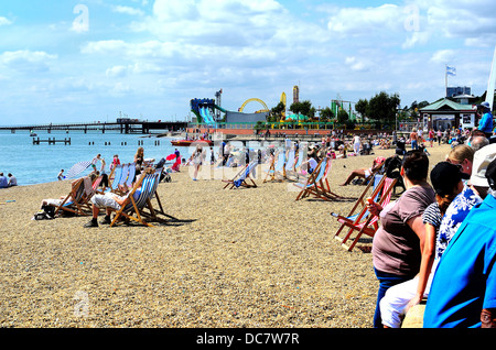 Busy seafront in summertime at Southend on Sea Essex - Stock Photo