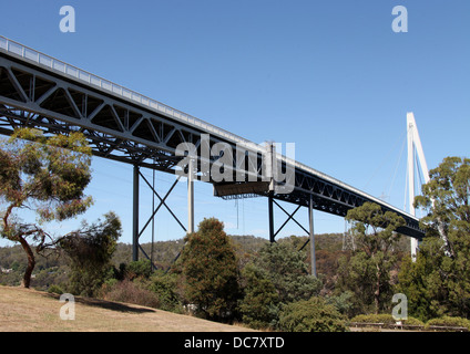 Batman Bridge over the Tamar River in northern Tasmania which was the first cable-stayed bridge in Australia - Stock Photo